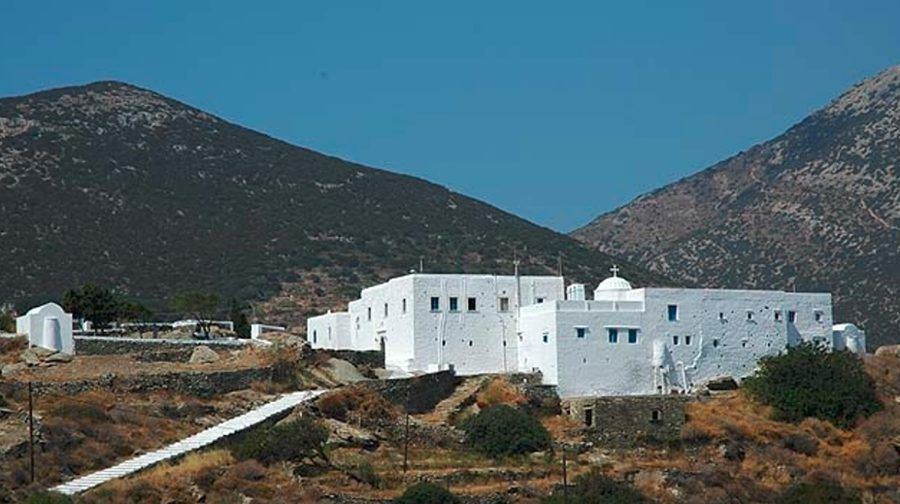 the Iera Moni (Holy Monastery) Vrisis commemorate festival of her birth at Sifnos, Exampela, Greece surrounded by trees