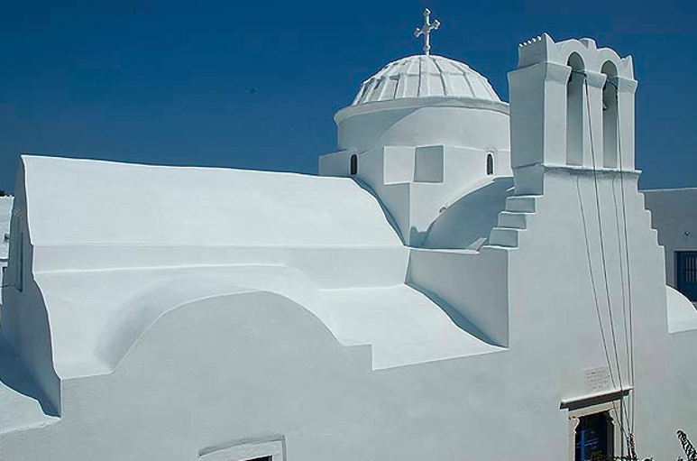 top view of the Iera Moni (Holy Monastery) Vrisis commemorate festival of her birth at Sifnos, Exampela, Greece