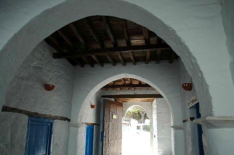 inside of the Iera Moni (Holy Monastery) Vrisis commemorate festival of her birth at Sifnos, Exampela, Greece