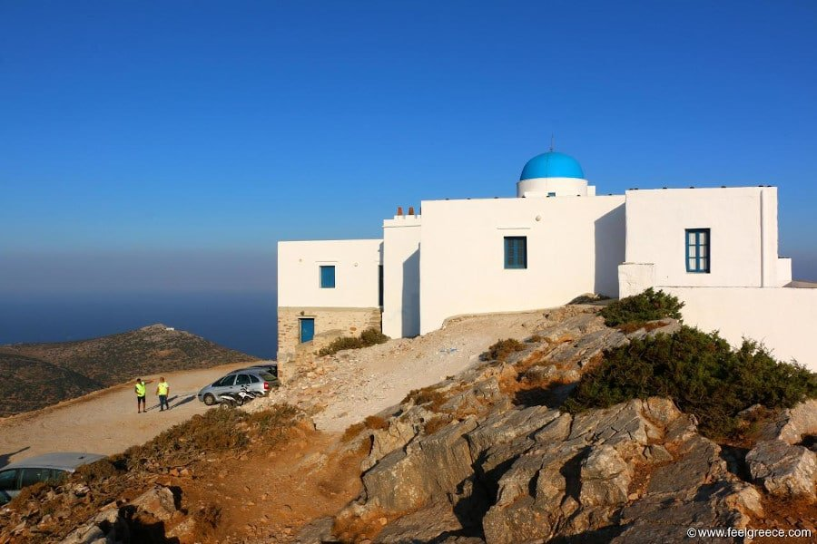 Church of St. Simeon on the hill commemorate festival of her birth at Sifnos, Kamares, Greece surrounded by rocks