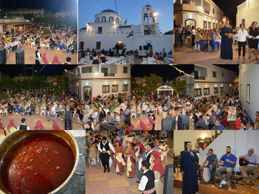 montaj of view of photos with people eating and dancing at the Festival of the Cup at church area, at Kos, Kardamaina, Greece by night