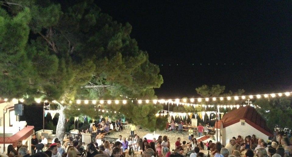 people commemorate Festival on the eve of Larniotissa at monastery of Larniotissa area, at Karpathos, Greece by night