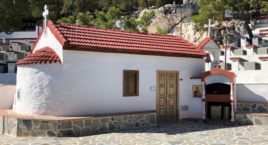 the monastery of Larniotissa surrounded by stone pavement commemorate Festival on the eve of Larniotissa, at Karpathos, Greece